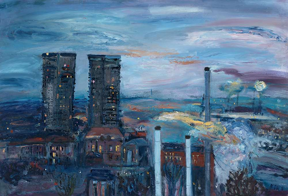 Katie Pope painting Gallowgate Twin Towers for sale as a giclée print